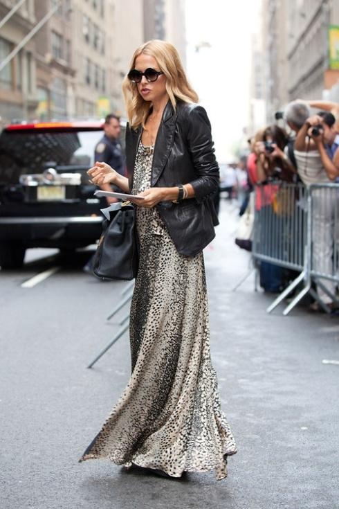 maxi dress and leather rachel zoe