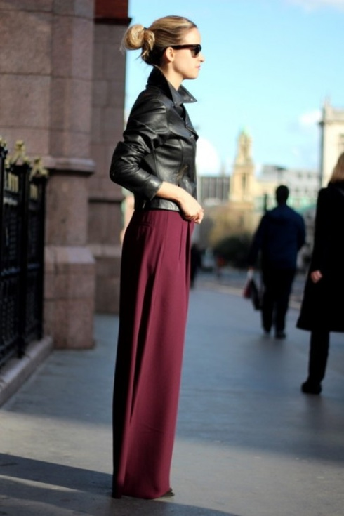 maxi dress and leather