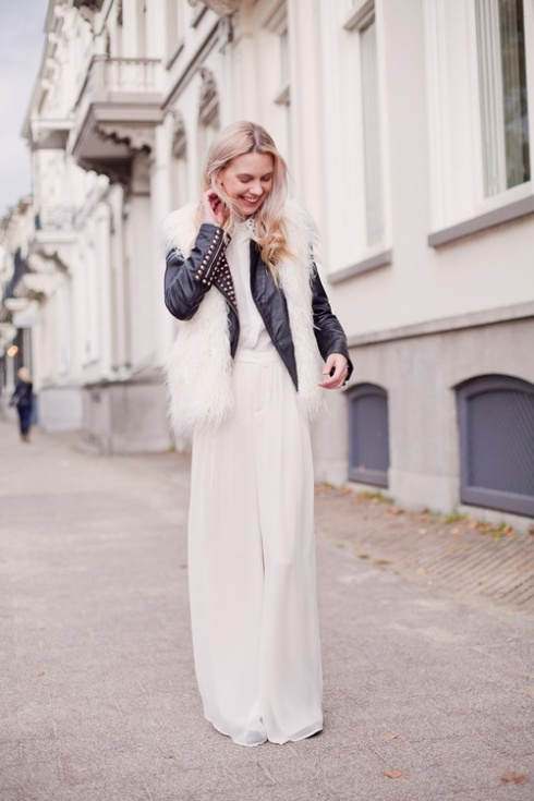 white maxi dress leather and fur